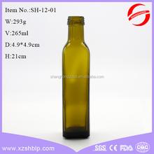 square bottom olive oil bottle set dark green color with screw cap