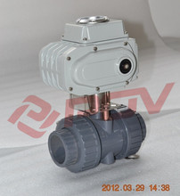 Double union plastic water 2'' upvc electrically actuated ball valve