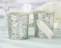 """""""Sparkle and Shine"""" Silver Glitter Votive Candle holder Popular glass candle cup"""