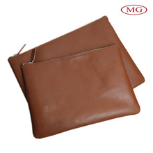 Custom-made genuine leather laptop sleeve bag with zipper pouch