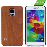 For Samsung Galaxy S5 Cell Phone Case Wood Grain Flip Cover Wood Case