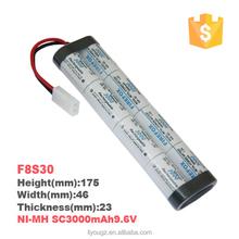 Custom Ni-MH SC 3000mAh 9.6V printed battery(F8S30)