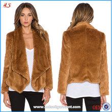Wholesale Fashion Women Fake Fur Coats / Faux Fur Waterfall Coat Jacket