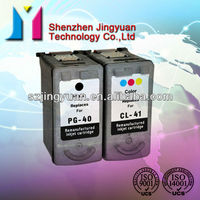 Remanufactured ink cartridge for Canon PG40/CL41 for PIXMA iP1180/PIXMA iP1880/PIXMA iP1980/PIXMA iP2580 with reset chip