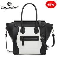 Women's Ladies Designer Black White Cow Leather Smile Smiling Tote Bag Satchel Shoulder Handbag