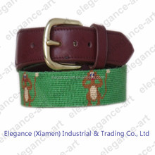 Monkey Needlepoint Belts in Green Color for Kids