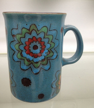 M3550 Wholesale stoneware mugs with different colors and handpainting 12oz