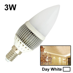 3W / 225LM High Quality Tensile Aluminum Material Day White Light LED Candle Energy Saving Light Bulbs