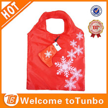 New 2015 xmas stocking shopping bag, santa reusable folding tote bags, folding bag