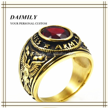 Guangzhou Daimily Wholesale Stainless Steel Jewelry Plated Gold Military Ring Mens Champion Ring