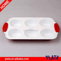 6 Cavity Ceramic Coating Peite Muffin Pan with Silicone Handle