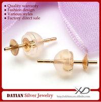 XD K029-K030 Genuine 18K Gold Stud Earrings with Post Backs