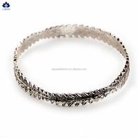 2016 Fashionable Leaf Shape Bracelet Antique Silver Plated Bangles For Stylish Women
