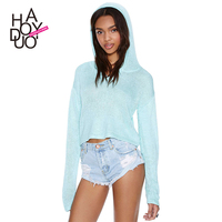 HAODUOYI Women Fashion Street Hooded Knitted Cropped Pullover Sweater for Wholesale