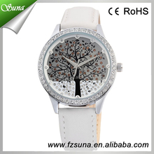 Unique Cheap Ladies Rhinestone Leather Skone Branded Women Wrist Luxury Tree Diamond Watch