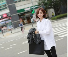 Retail Summer Style Professional Clothing for Women Classical White Color Shirt Long Sleeve Plus Size Loose T-shirt