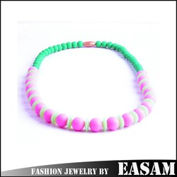 Silicone teething necklace,candy color silicone bead necklace for baby