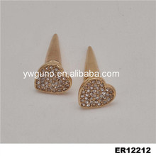 New product crystal stud earrings with cap for women