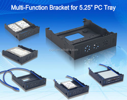 Multi-function 5.25''drive bay with 2*USB3.0 HUB/HDD/SSD bracket