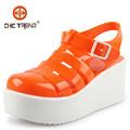 2015 Moda señoritas zapatos romanos zapatos cristal sandalias gelatina plástico pvc zapatos mujer