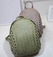 knitting school bags rivet backpack leather