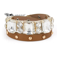 Diamond Pave Leather Bracelets Factory Price,Handmade Leather Bracelets Genuine Cowhide Material
