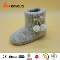 Classic wool high boots Sequin embroidery winter boots
