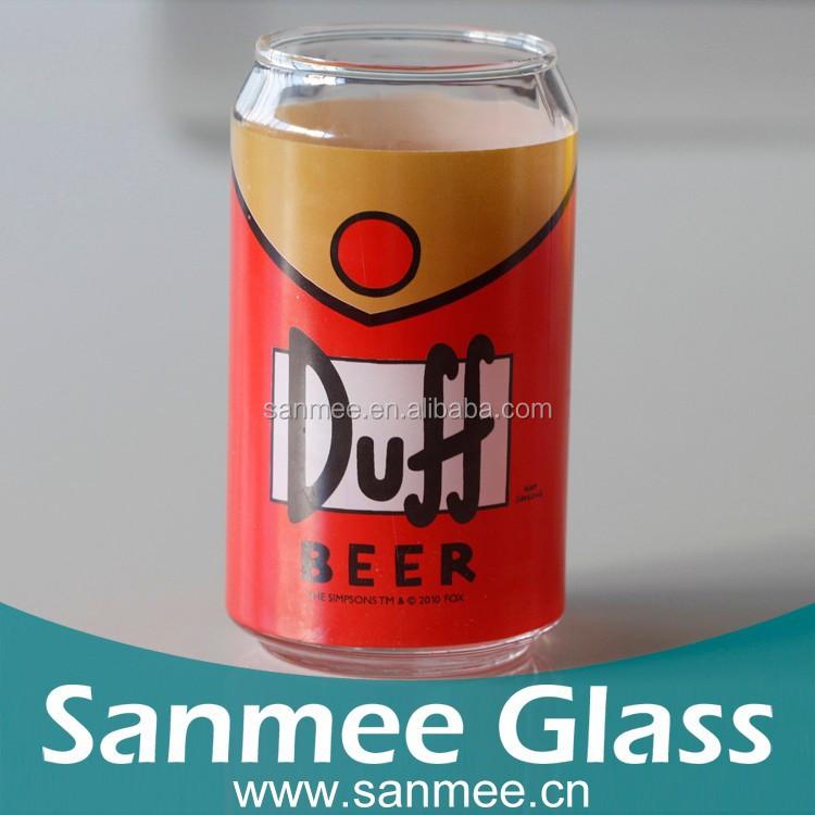 Família Simpson Duff Beer decalque venda quente pode moldar copo de vidro