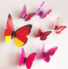 Cute 12pcs per set 3D Butterfly Wall Stickers Butterflies Docors Art / DIY Decorations Paper mixed colors