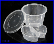PP round clear take away lunch box with insert compartment