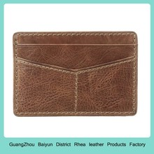 Personalized Vintage Brown Thin Front Pocket Business Credit Card Holder Case Custom Genuine Leather Slim Minimalist Wallet