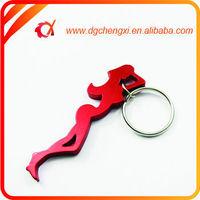 Customized Red Sexy Lady Design Anodized Aluminum Bottle Opener Key Ring