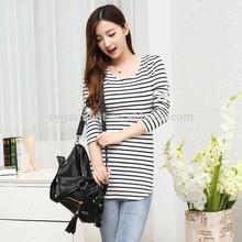 Coreano de la mujer de moda raya camisa t, ajuste apretado delgada de manga larga camisa t