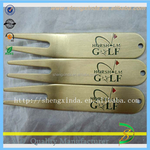Sample free gold color golf divot tool with logo and PE bag S-D06