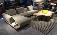 Modern Fashion Design Oak Wood Frame Fabric L Shape Sofa Design Home Sofa