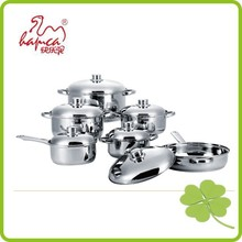 stainless steel 12 pcs cookware with induction bottom