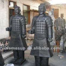 The waterproof black pottery soldier figures of Terracotta Warriors