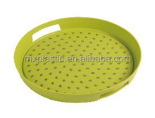 Plastic double non slip round food serving tray with handle