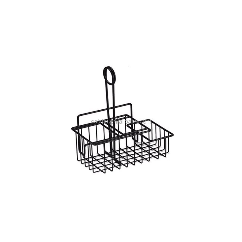 metal wire table caddie with menu holder