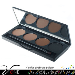 4 color eye brow powder palette eyebrow makeup case with double ended brush