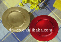 wholesale cheap wedding round decorative gold plastic charger plate