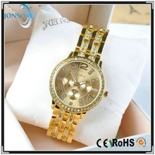 Europe fashionable four color crystal strap gold tone watches