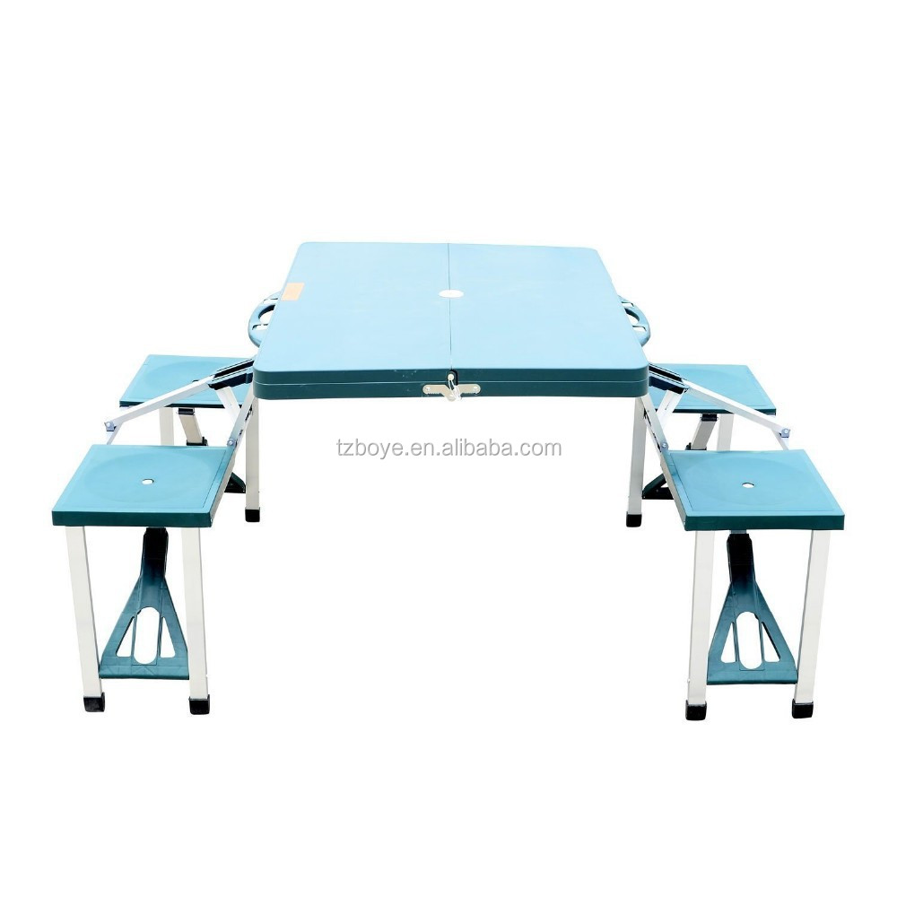 Portable folding outdoor camp suitcase picnic table with 4 for Table camping valise