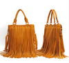 New Women PU Rivet Tassel Handbag Casual Wave Shoulder Bag Lady Messenger Bag