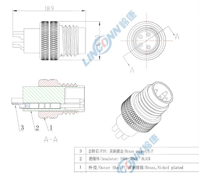 m12  m8 4 pin saldare connettore connettore del cavo