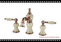 Green jade 3-hole wash basin Golden artistic brass faucets K23003M