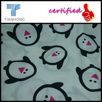 cute penguin charactor 100 cotton twill sateen weave reactive printing white fabric for children pyjamas