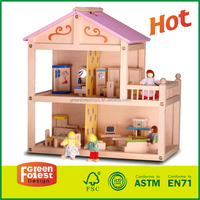 Safe Diy Wooden Toy Doll House with 2-storey