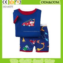 Car style hot sell popular Kids pajamas, short sleeve summer kids pajamas sleepwear wholesale