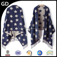 GDK0135 New style digital print design with macrame painted stars 100 % cashmere scarf
